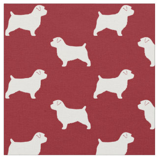 Norfolk Terrier Silhouettes Pattern Red Fabric