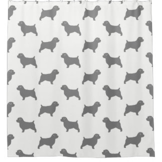 Norfolk Terrier Silhouettes Pattern Shower Curtain