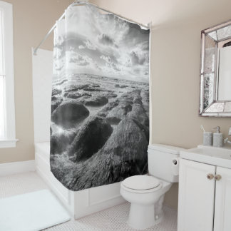 Norfolk  UK rugged coastline black and white Shower Curtain