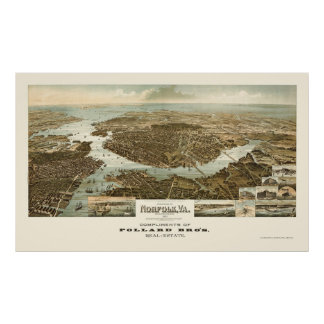 Norfolk, VA Panoramic Map - 1892 Poster