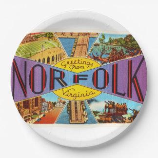Norfolk Virginia VA Old Vintage Travel Postcard- 9 Inch Paper Plate