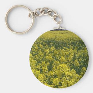 Norfolk yellow rape flower field basic round button key ring