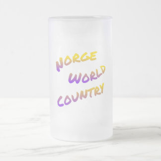 Norge world country, colorful text art frosted glass beer mug