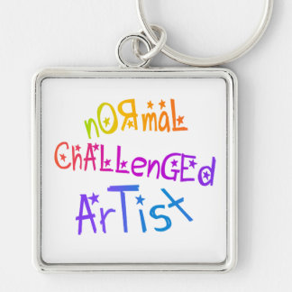 NORMAL CHALLENGED ARTIST Silver-Colored SQUARE KEY RING