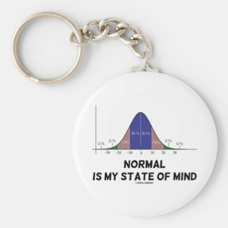 Normal Is My State Of Mind Bell Curve Geek Humor Basic Round Button Key Ring