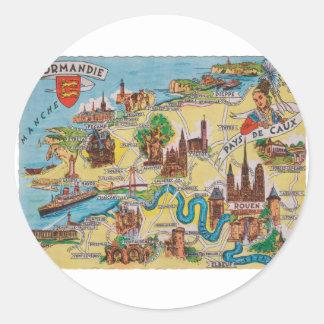 Normandie old map classic round sticker