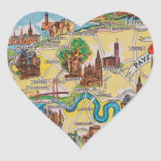 Normandie old map heart sticker