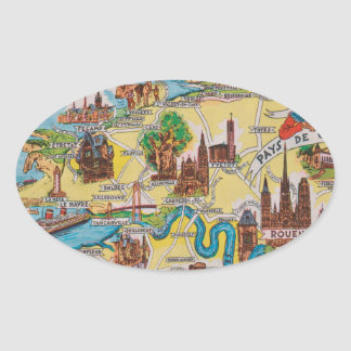 Normandie old map oval sticker