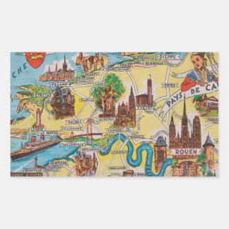 Normandie old map rectangular sticker