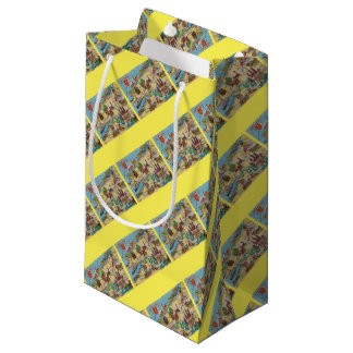 Normandie old map small gift bag