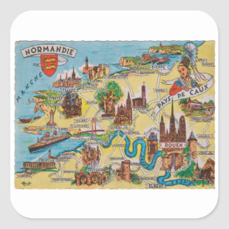 Normandie old map square sticker