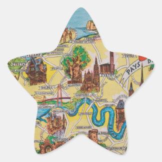 Normandie old map star sticker