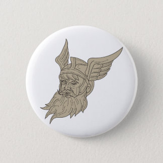 Norse God Odin Head Drawing 6 Cm Round Badge