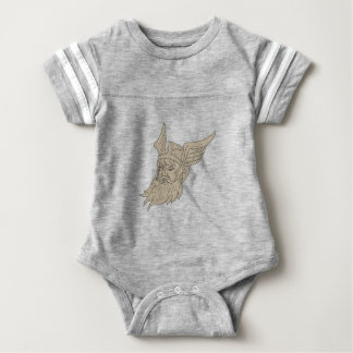 Norse God Odin Head Drawing Baby Bodysuit