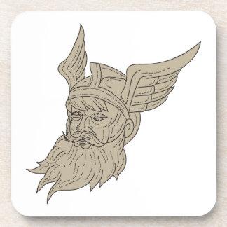 Norse God Odin Head Drawing Coaster