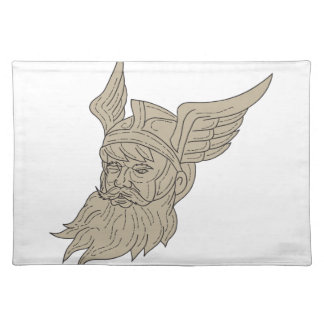Norse God Odin Head Drawing Placemat