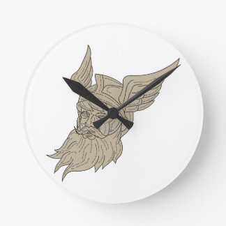 Norse God Odin Head Drawing Round Clock
