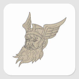 Norse God Odin Head Drawing Square Sticker