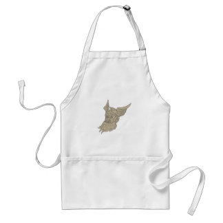 Norse God Odin Head Drawing Standard Apron
