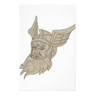 Norse God Odin Head Drawing Stationery