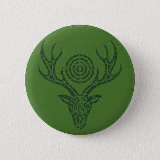 Norse Leaf Stag 6 Cm Round Badge