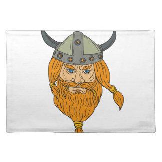 Norseman Viking Warrior Head Drawing Placemat