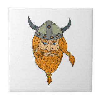Norseman Viking Warrior Head Drawing Tile