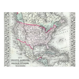 North America and the United States Antique Map Postcard