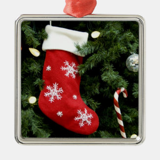 North America. Christmas decorations on tree. 3 Silver-Colored Square Decoration
