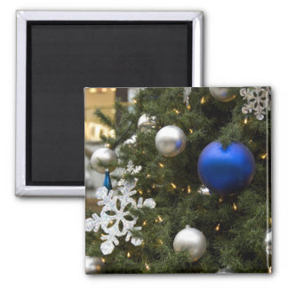 North America. Christmas decorations on tree. Square Magnet