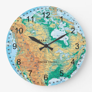 North America Map Large Clock