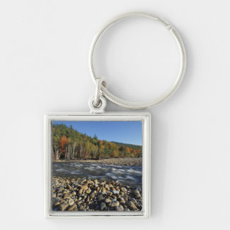 North America, US, NH, A cobble beach on the Silver-Colored Square Key Ring