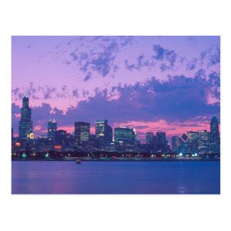 North America, USA, IL. Chicago skyline at dusk Postcard