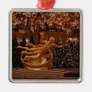 North America, USA, New York, New York City. 6 Silver-Colored Square Decoration