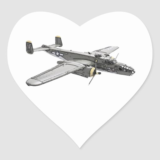 North American B-25 Mitchell bomber Heart Stickers