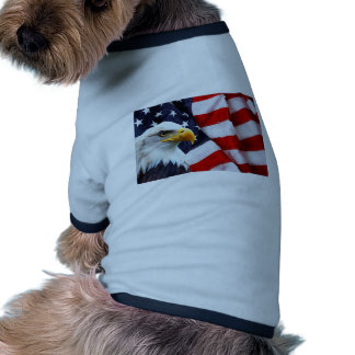 North American Bald Eagle on American flag Ringer Dog Shirt