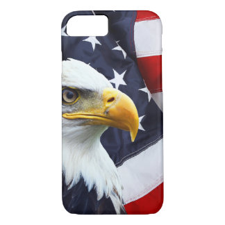 North American Bald Eagle on American flag iPhone 8/7 Case