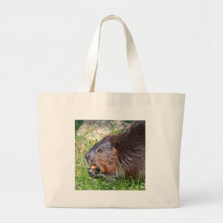 North American Beaver eating vegetable Large Tote Bag