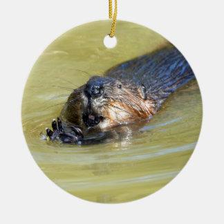 North American Beaver swimming Ceramic Ornament