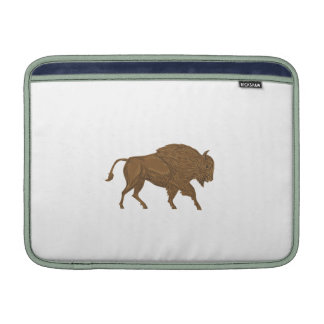 North American Bison Buffalo Charging Retro MacBook Air Sleeves