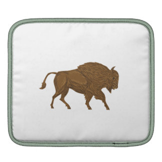 North American Bison Buffalo Charging Retro Sleeves For iPads