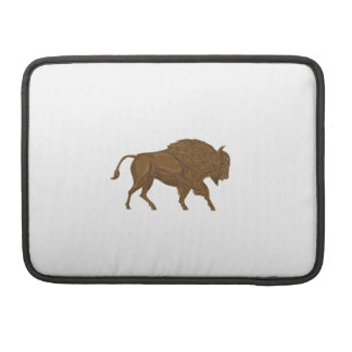 North American Bison Buffalo Charging Retro Sleeves For MacBook Pro
