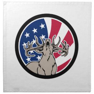 North American Deer USA Flag Icon Napkin