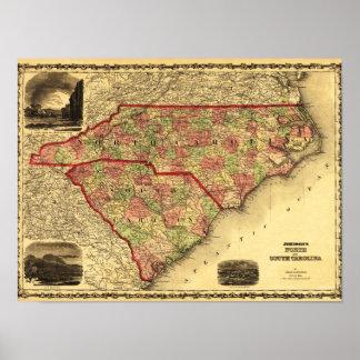 North and South CarolinaPanoramic Map Poster