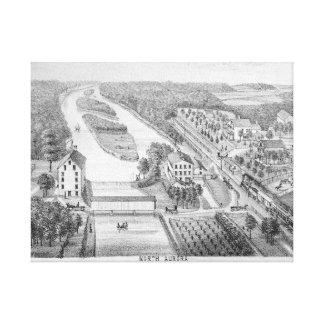 North Aurora Illinois 1871 FOX RIVER Stone Litho Canvas Print