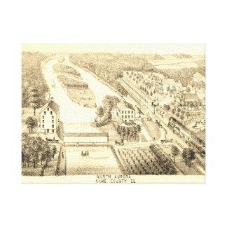 North Aurora Illinois 1871 River From Stone Litho Canvas Print