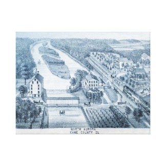 North Aurora Illinois 1871 River From Stone Litho Canvas Print