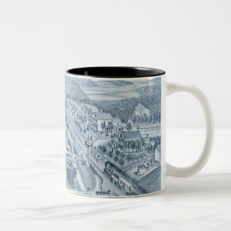 North Aurora Illinois 1871 River From Stone Litho Two-Tone Coffee Mug
