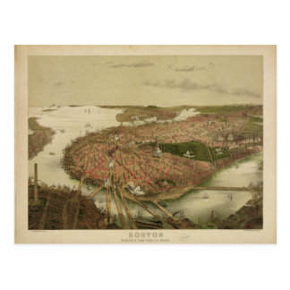 North Boston Massachusetts 1877 by John Bachmann Postcard