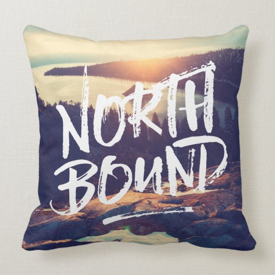 North Bound Dry Brush Typography Photo Template Throw Pillow Zazzle
